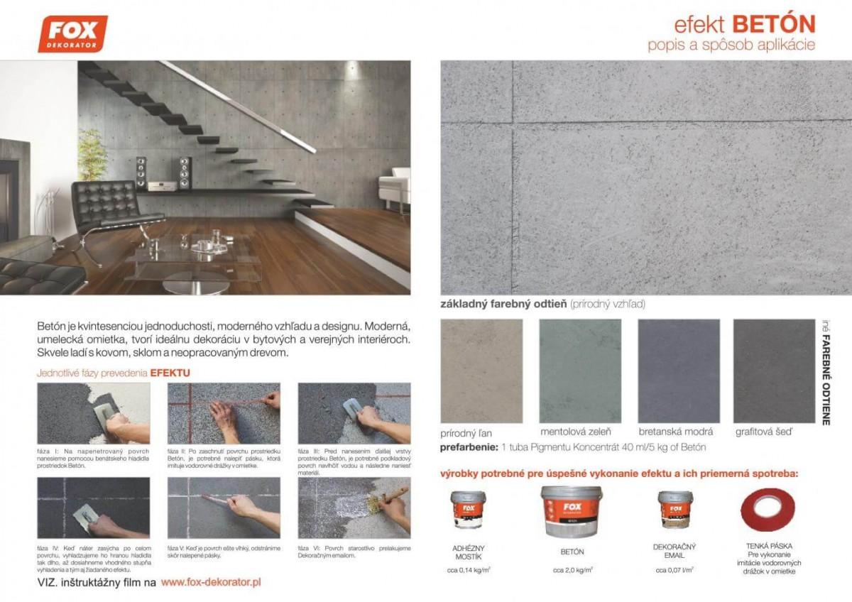 Fox dekoračné farby a omietky efekt betón