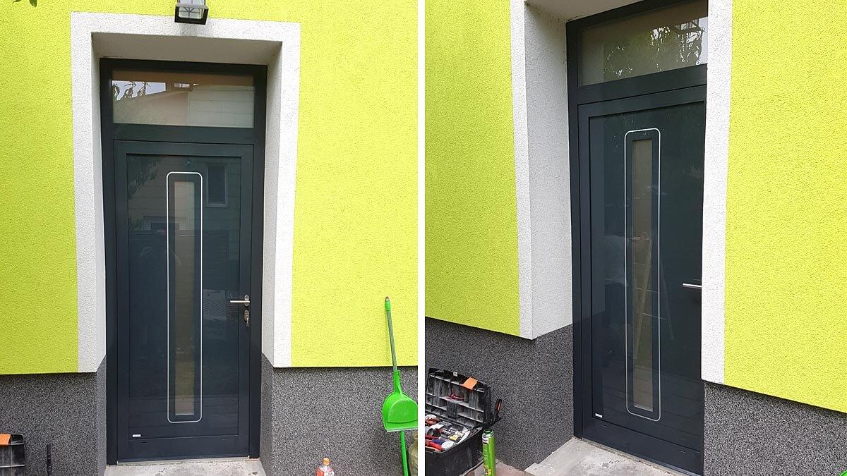 Vchodové hliníkové dvere Evolution s nadsvetlíkom vo farbe antracit