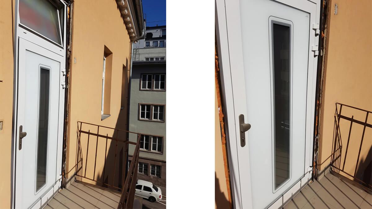Vchodové hliníkové dvere EV-954 na pavlači v Bratislave